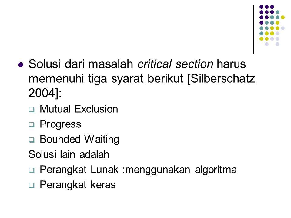 Solusi dari masalah critical section harus memenuhi tiga syarat berikut [Silberschatz 2004]: